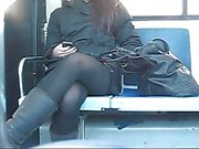 Teen voyeur upskirt in the bus
