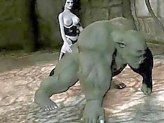 3D karikatyr orc blir påsatt av ett brud med bygel på