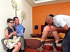 Wild threesome with latina shemale