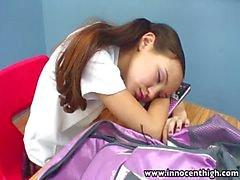 InnocentHigh Öğretmenliği cılız Asya gençlere sıkı kedi büyük patlama