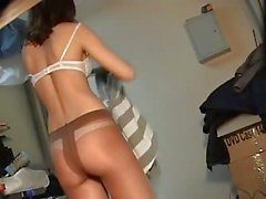 Pantyhose changing girl