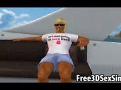 Dois sensuais méis desenhos animados em 3D chupar e foder um garanhão em um barco