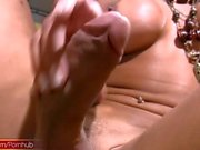 FULL video of Latina shedoll petting and stroking huge cock