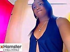Sexy Ass & Kleine Boobies Ebony plagen op Cam