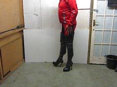 I min läder snör åt upp och bakre blixtlåset lårens skor