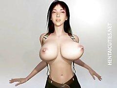 Busty hentai de 3D pone duro jodido