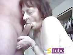 German (Deutsch) Granny Homemade Oral Sex and Facial