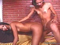 Slender Tgirls twosome