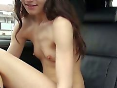 Very slim European chick pussy fucked in the car for cash
