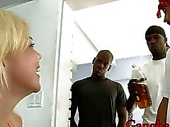 Slutty blonde whore Alice Frost DPed by many big black dicks