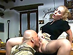 Blonde housewife gets her pussy eaten by a soldier