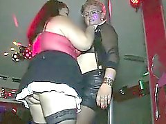 2 fat matures make a show into a club