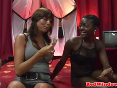 Ebony whore cumsprayed and doggystyled