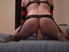 Sexy CD Vanessa Riding new dildo and cums hard