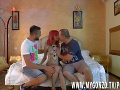 Cute little petite redhead teen does deepthroat in a rough threesome bust
