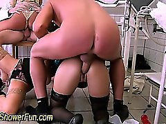 Weird doc office orgy with pissing