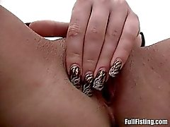 Charming Blonde Teen Taking Huge Fist Into Her Pussy