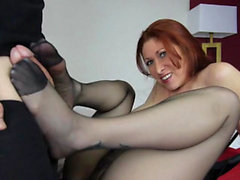 Hot mom footjob with cumshot