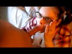 Nerdy mom in glasses sucks son dick and trake a huge load to the face