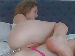 Hot Redhead Anal Toying Beads