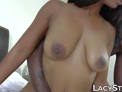 Granny joins as black dude fucks cute ebony girlfriend