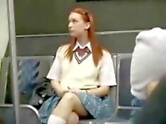 Redhead girl BUS seduction