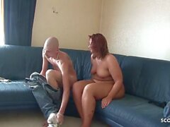 German Redhead BBW Amateur Wife Fuck Tiny Neigbour and Pee