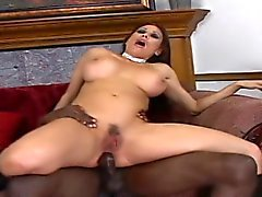 Big breasted brunette cougar has a long black pole drilling her holes