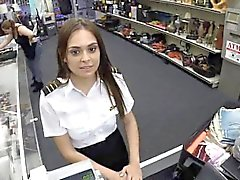 Sexy latina stewardess sucks cock in public pawn shop
