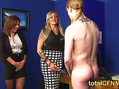 MILFs strip office stud and blow him until he cums