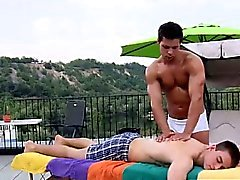 Muscly masseur outdoors