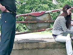 Young skinny teen girl PUBLIC sex GANGBANG Part 1