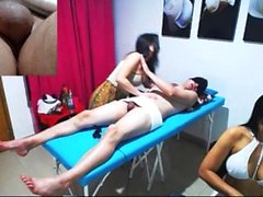 Massage model amateur in hot threesome
