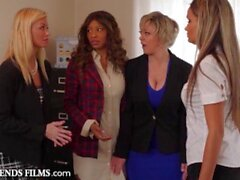 'Lesbian Boss Disciplines Employee For Squirting On Her Desk - GirlfriendsFilms'