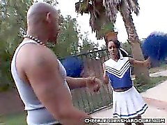 Ebony Cheerleader Loving a Huge Cock