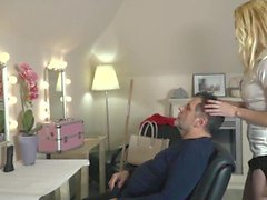 'Facial cum for sexy Teen Getting Fucked By grandpa at the salon'