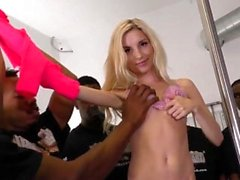 Throated blond blowbang