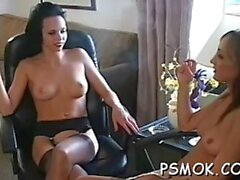 busty slut smoking naked