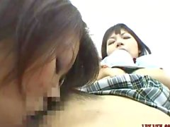 Asian Office Lady eats out a hot schoolgirl