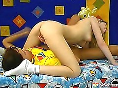 Two lesbian teens playing doctor