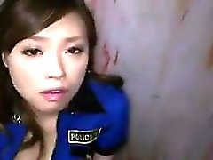 Sexy Asian Prison Guard Swallows Cum