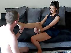 British hottie with foot slave