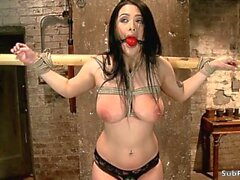 gagged busty slave gets whipped