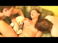 Threesome Hardcore Teen Blowjob And Fucking