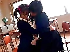 Young Schoogirl With Small Tits Kissing Passionately Tits Rubbed Pussy Licked By Other Schoogirl On The Chair In The Classroom