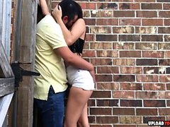 Wild Girlfriend Gives A Nasty Public Blowjob In An Alley