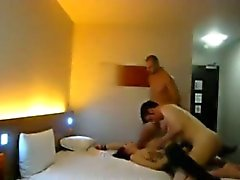Hidden camera caught a double penetration