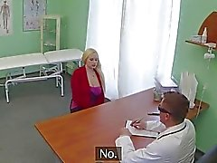Blonde patient railed by a fake doctor