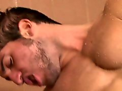 Uk army lad in shower takes facial after anal