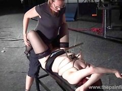 Extreme lesbian bdsm and hardcore lezdom tit tortures of chubby redhead
